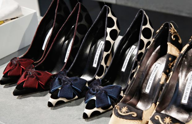 Manolo Blahnik shoes on display during New York Fashion Week in February 2014. Photo: Cindy Ord/Getty Images