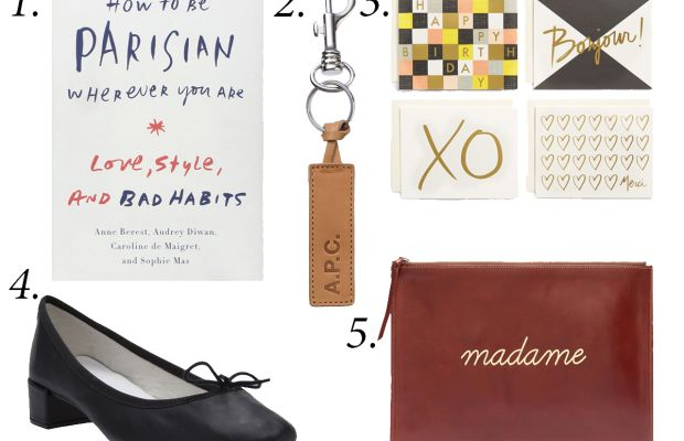 """1. """"How to Be a Parisian Wherever You Are,"""" $15.43, available at Amazon. 2. A.P.C. 'Cuoio' keychain, $55, available at A.P.C.3. Rifle Paper Co. x Garance Doré note cards, $18, available at Nordstrom.4. Repetto chunky heel ballerina, $340, available at Farfetch.5. Sézane Madame pouch, $95, available at Madewell."""