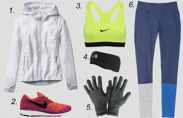1. Athleta accelerate reflective jacket, $118, available at Athleta.2. Nike Flyknit Lunar 3, $150, available at Nike. 3. Nike pro classic sports bra, $30, available at Nike. 4. The North Face ear warmer, $30, available at Urban Outfitters. 5. GliderGloves touchscreen gloves, $26.99, available at Amazon. 6. Outdoor Voices dipped warmup legging, $95, available at Outdoor Voices.