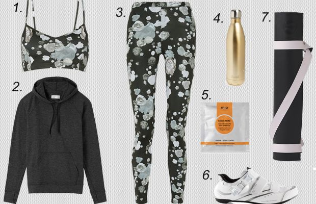 1. Live the Process printed sports bra, $85, available at Net-a-Porter. 2. Outdoor Voices hoodie, $85, available at Outdoor Voices. 3. Live the Process printed leggings, $135, available at Net-a-Porter. 4. S'well stainless steel water bottle, $25, available at Nordstrom. 5. Mio skincare gym kit, $29, available at Mio Skincare. 6. Shimano women's road cycling shoe, $80-$100, available at Amazon. 7. Lululemon mat strap, $18, available at Lululemon.
