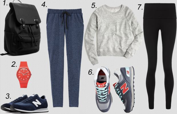 1. Everlane twill snap backpack, $65, available at Everlane. 2. Swatch unisex watch, $70, available at Macy's. 3. New Balance 620s, $75, available at New Balance. 4. Outdoor Voices running woman sweats, $95, available at Outdoor Voices. 5. J.Crew crewneck sweatshirt, $40 (on sale), available at J.Crew. 6. New Balance 574s, $80, available at Urban Outfitters. 7. Sweaty Betty yoga leggings, $130, available at Sweaty Betty.