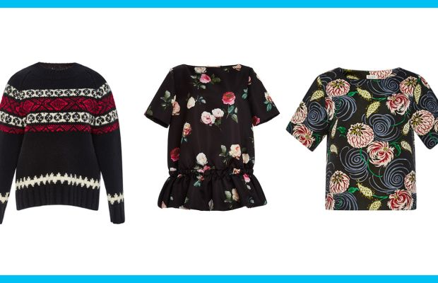 Suno Wool Fair Isle Crewneck Sweater, now $322, available at Moda Operandi; No. 21 Floral Printed Blouse With Ruffled Bottom, now $357, available at Moda Operandi; Suno Whimsical Floral Jacquard Boxy Top, now $283, available at Moda Operandi.
