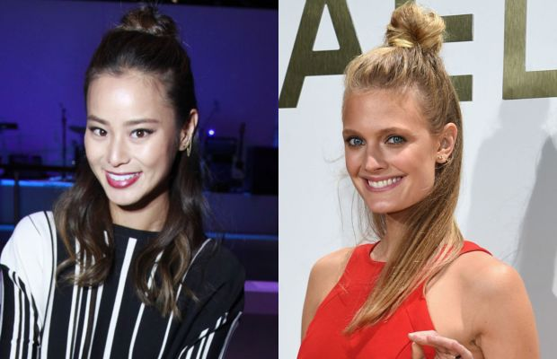 Jamie Chung and Constance Jablonski were fans of the style this year. Photos: John Lamparski & Dimitrios Kamouris/Getty Images