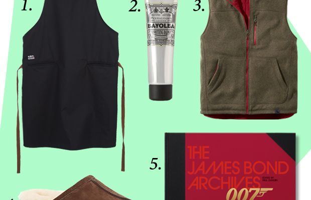 1. Tilit Contra Apron, $85, available at TilitChefGoods.com. 2. Penhaligon's Bayolea After Shave Soothing Balm, $55, available at MrPorter.com. 3. L.L. Bean Bean's Sweater Fleece PrimaLoft Vest, $89, available at LLBean.com. 4. UGG Australia Scuff Slippers, $80-$90, available at SaksFifthAvenue.com. 5. The James Bond Archives: 'Spectre' Edition, $69.99, available at Taschen.com.