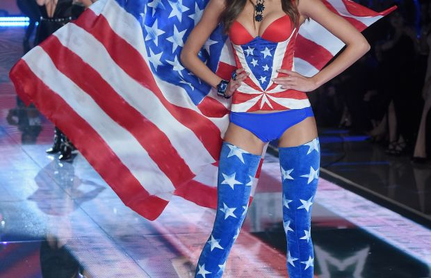 Taylor Hill and Selena Gomez on the Victoria's Secret Fashion Show runway. Photo: Jamie McCarthy/Getty Images