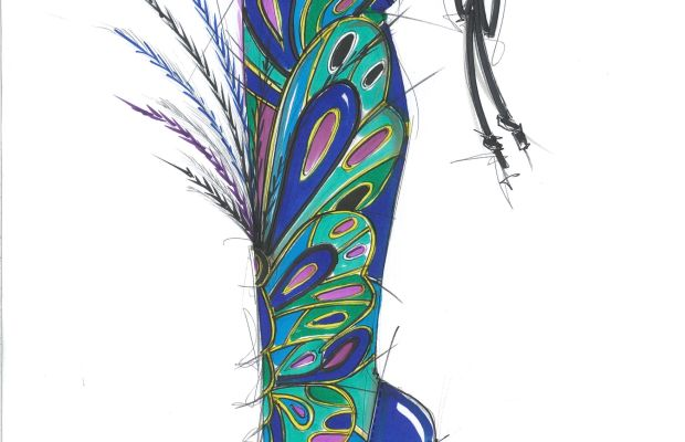 Brian Atwood sketch of a thigh-high boot for the 2015 Victoria's Secret Fashion Show. Photo: Brian Atwood