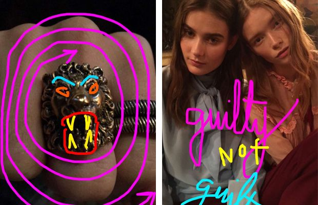 Cool ring and cool models. Photo: Snapchat/@gucci