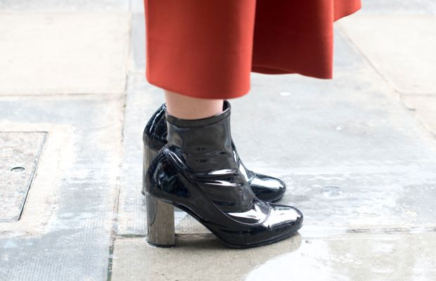 Kurt Geiger boots outside London Fashion Week in September. Photo: Kirstin Sinclair/Getty Images