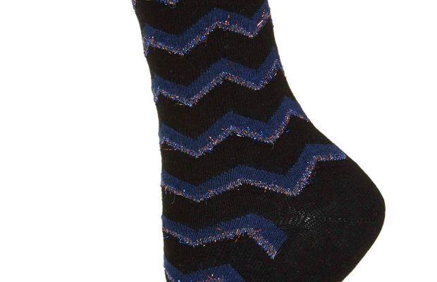Fluffy Glitter Chevron Socks, $6, available at Topshop.