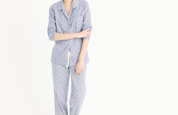 J.Crew textured-dot sleep set in stripe, $98, available at J.Crew.