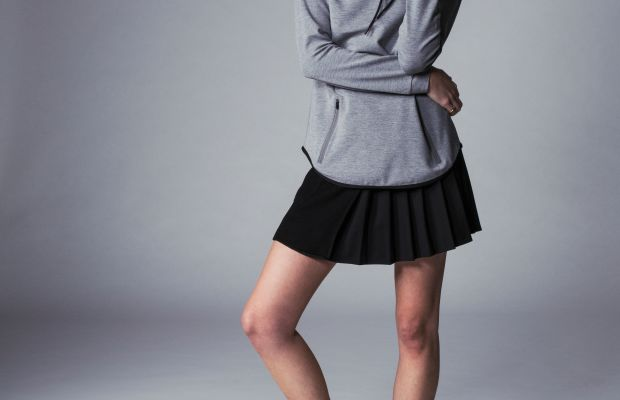 The Jaden hoodie and Opal skirt from Kith's debut womenswear collection. Photo: Kith