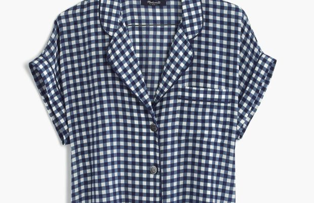 Silk bedtime shirt in gingham check, now $48.37, and shorts, $27.37, available at Madewell.