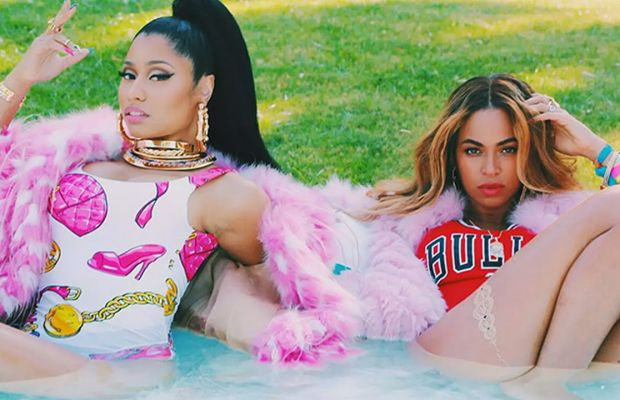 "Nicki Minaj and Beyoncé looking fabulous in the video for ""Feeling Myself."" Photo: YouTube"