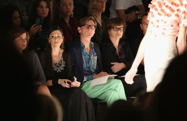 Hamish Bowles and Cathy Horyn at New York Fashion Week. Photo: Chelsea Lauren/Stringer