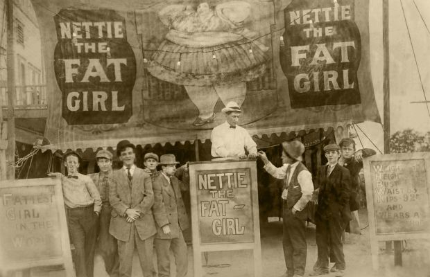 """""""Ticket to Nettie the Fat Girl,"""" early 20th century, gelatin silver print. Photo: Unknown photographer/ Courtesy Chere Hughes at Mindful Resource"""