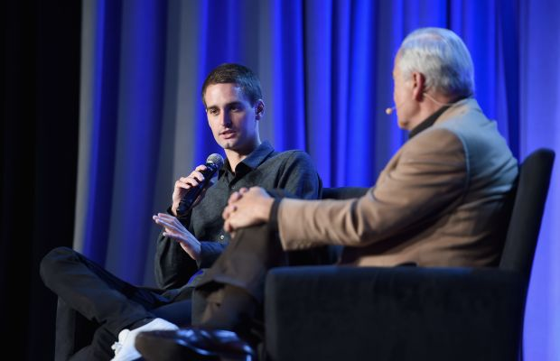 Snapchat CEO and co-founder Evan Spiegel onstage at the American Magazine Media Conference with Ken Auletta of 'The New Yorker.' Photo: Larry Busacca/Getty Images for Time Inc