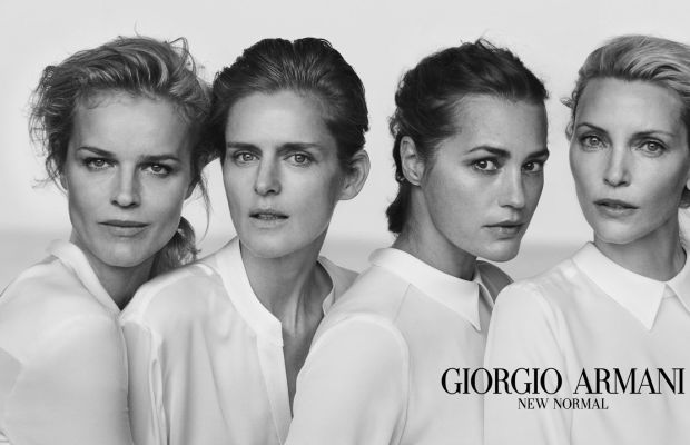 Eva Herzigova, Stella Tennant, Amber Le Bon and Nadja Auermann. Photo: Peter Lindbergh