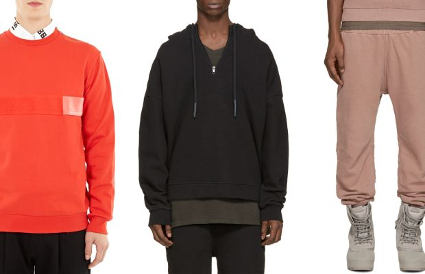 Gosha Rubchinskiy red cotton logo-detail sweatshirt, available at Oki-Ni; Yeezy Season 1 black half zip hoodie, $625, available at Ssense; Yeezy Season 1 rose french terry lounge pants, $570, available at Ssense.