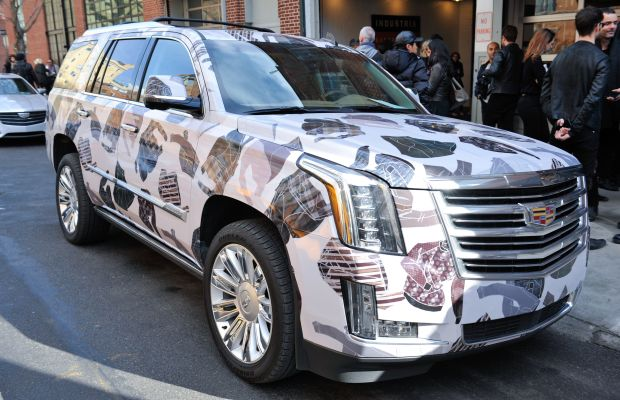 "Cadillac tapped several designers to create ""wraps"" for their latest SUV model at New York Men's Day. Photo: Leandro Justen/Cadillac"