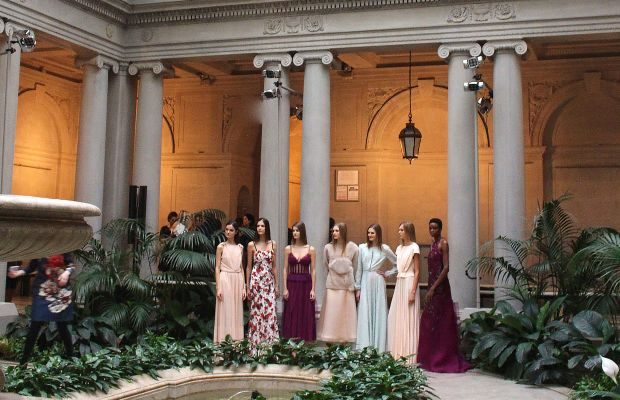 Models after the Carolina Herrera fall 2016 show at the Frick Museum on February 15. Photo: Brook Christopher/WireImage