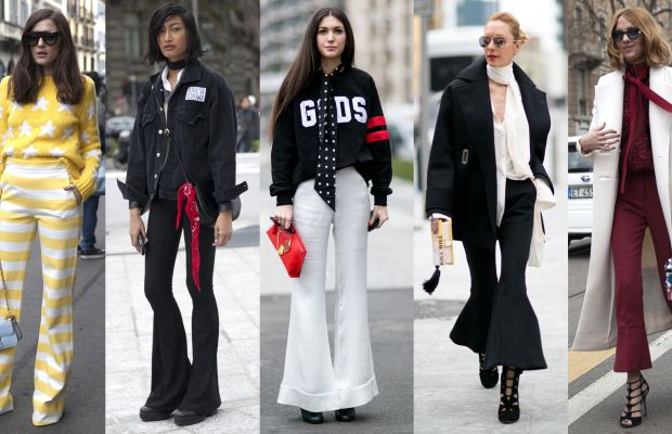 On the street at Milan Fashion Week. Photos from left to right: Emily Malan/Fashionista (2), Imaxtree (2), Emily Malan/Fashionista