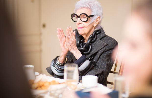 Iris Apfel at WiseWear's breakfast celebration. Photo: Courtesy
