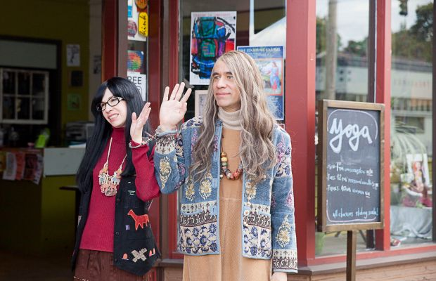 Hiii from the 'Portlandia' fashion police. Toni and Candace wave from the feminist bookstore. Photo: Augusta Quirk/IFC