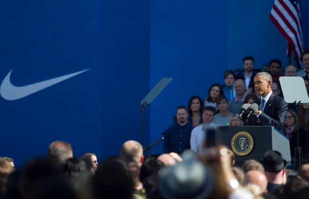 President Obama at Nike headquarters on May 8. Photo:Natalie Behring/Stringer