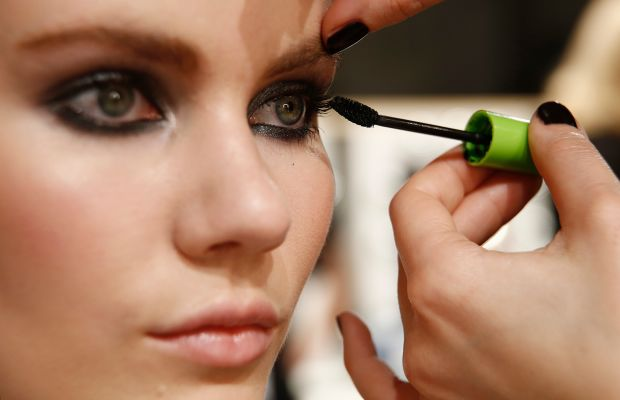 A model backstage at Berlin Fashion Week. Photo: Andreas Rentz/Getty Images