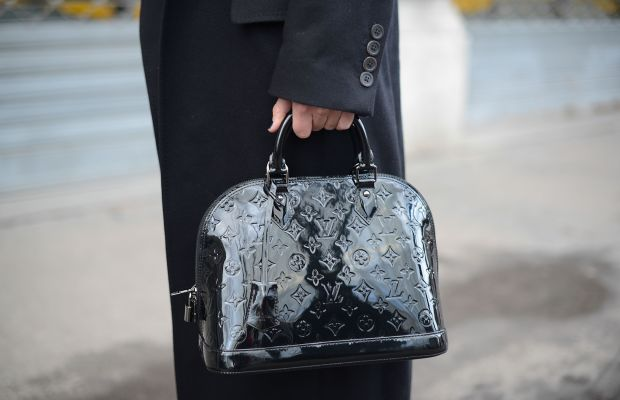 A Louis Vuitton bag outside the men's shows in Milan last January. Photo: Vanni Bassetti/Getty Images