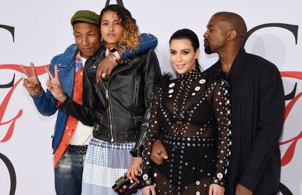 Pharrell Williams, Helen Lasichanh, Kim Kardashian and Kanye West. Photo: Dimitrios Kambouris/Getty Images