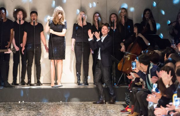Bailey takes a bow at Burberry's men's show in January. Photo: Ian Gavan/Getty Images