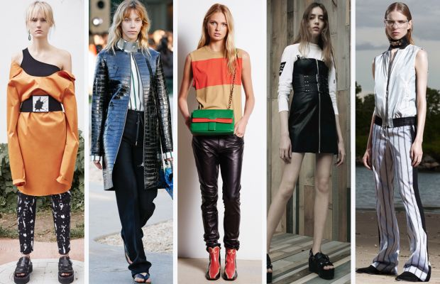 From left to right: MM6 Maison Margiela, Louis Vuitton, Tomas Maier, Alexander Wang and Costume National. Photos: Courtesy