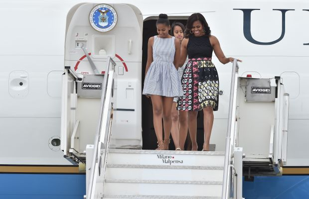 Michelle Obama arrives in Milan on Wednesday accompanied by her mother, Marian Robinson, and her daughters, Sasha and Malia. Photo: Jacopo Raule/Getty Images