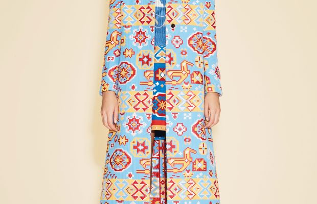 """A resort 2016 look featuring the """"Navajo"""" print. Photo: Valentino"""