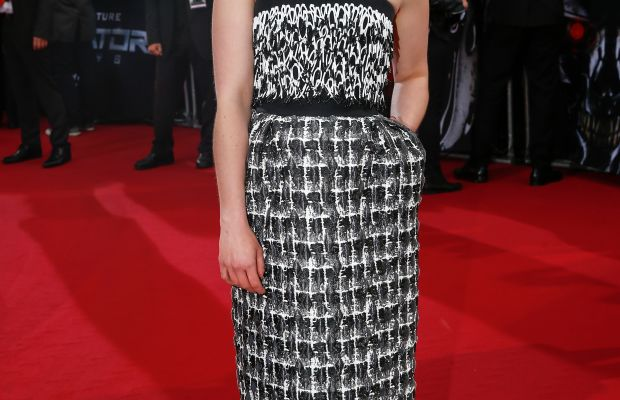 "Emilia Clarke in Balenciaga at the European premiere of ""Terminator: Genisys."" Photo: Franziska Krug/Getty Images"