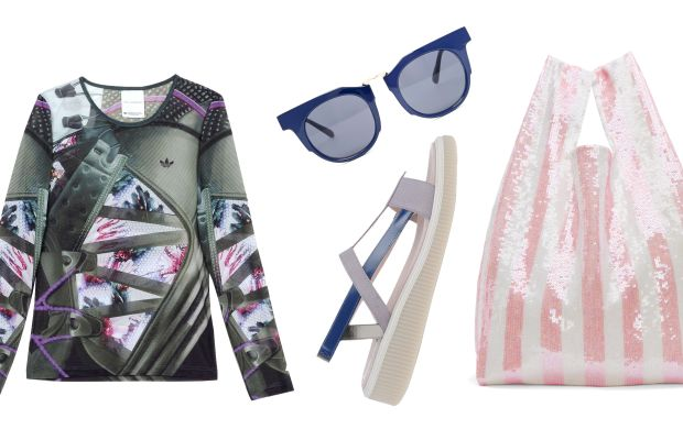 Adidas x Mary Katrantzou top, $100 (from $200), available at TheCorner; New Kid sandals, $115 (from $230), available at Shoescribe; AJ Morgan sunglasses, $14.50 (from $28), available at Asos; Ashish tote, $399 (from $570), available at Ssense.