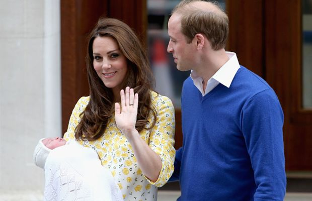 The Duke and Duchess of Cambridge departing the hospital after the birth of Princess Charlotte. Photo: Chris Jackson/ Getty Images