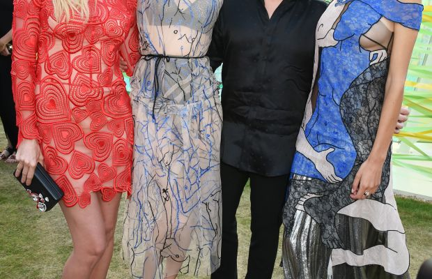 Lara Stone, Poppy Delevingne, Christopher Kane and Alexa Chung at Thursday evening's Serpentine Galler party. Photo: Dave Benett/Getty Images for the Serpentine Galleries