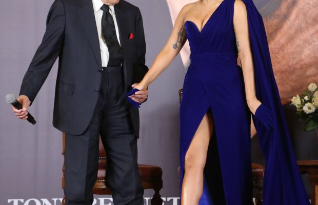 Artists Tony Bennett and Lady Gaga at a press conference for their album 'cheek to cheek' in September. Photo: Mark Renders/Getty Images
