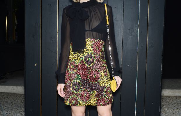 Kiernan Shipka in Miu Miu at the house's fragrance launch in Paris. Photo: Dominique Charriau/French Select