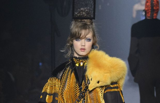 """""""Idk what I'm wearing either."""" -Lindsey Wixson. A look from Jean Paul Gaultier's fall 2015 couture collection. Photo: Imaxtree"""