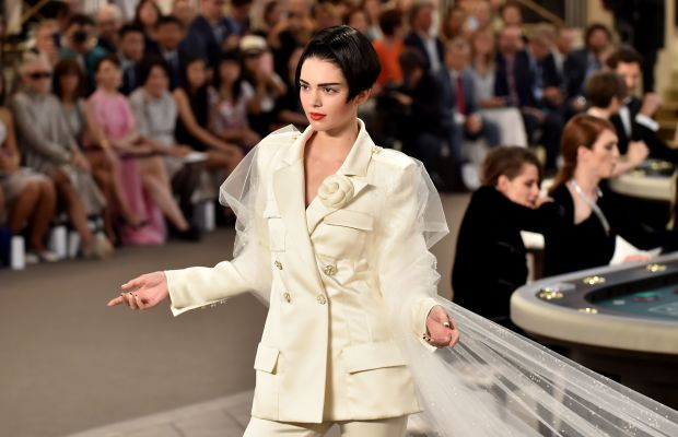 Kendall Jenner closes out Chanel's couture show. Photo: Gareth Cattermole/Getty Images