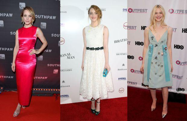 The American flag in European designer fashion-form. Rachel McAdams, Emma Stone and Elle Fanning. Photos: Getty Images