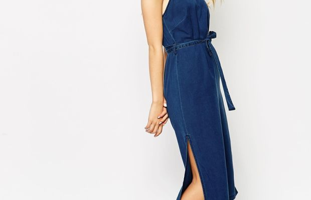 ASOS denim cross back midi dress with tie, $76, available at ASOS.