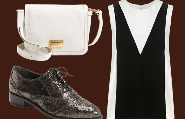 Marc by Marc Jacobs bag, now $232.90, available at Nordstrom; Topshop top, now $45.90, exclusively available at Nordstrom; Stuart Weitzman oxfords, now $289.90, available at Nordstrom.