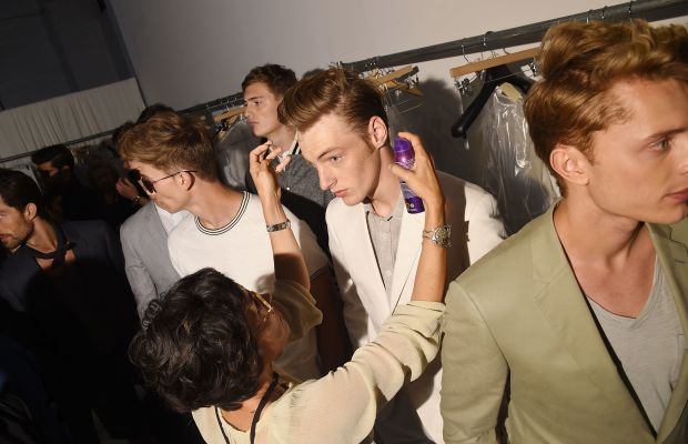 The boys backstage at Todd Snyder. Photo: Michael Loccisano/Getty Images