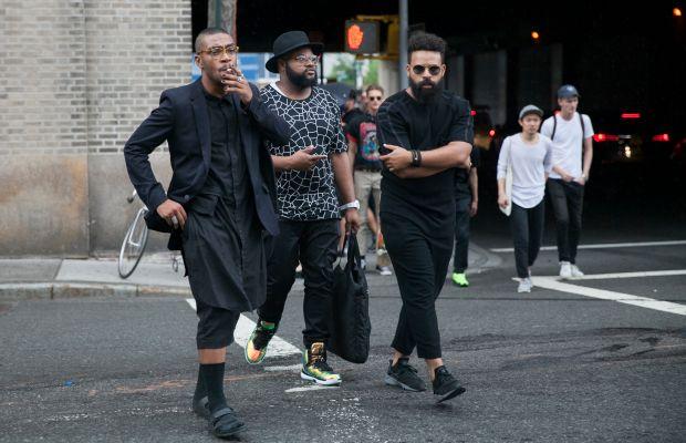 Street style at New York Fashion Week: Men's. Photo: Emily Malan/Fashionista