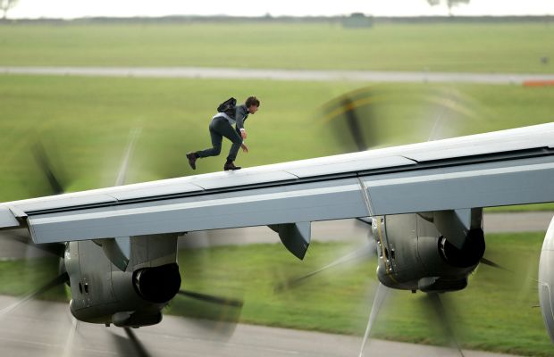 """Will he earn miles for that? Tom Cruise as Ethan Hunt in """"Mission: Impossible - Rogue Nation."""" Photo: Christian Black/Paramount Pictures"""