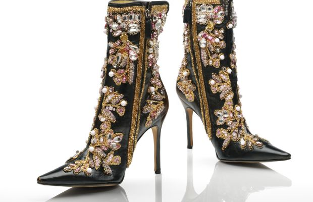 Dolce & Gabbana. Leather ankle boots with gold, white, and pink embroidery, 2000. Photo © Victoria and Albert Museum, London